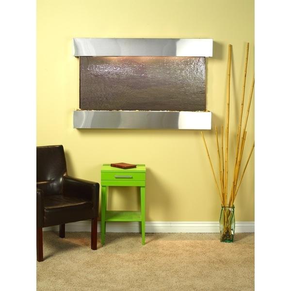 Adagio Sunrise Springs Wall Fountain Rajah FeatherStone Slate Stainless Steel -