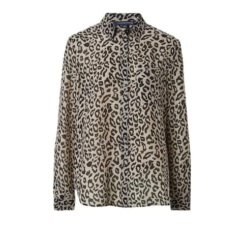 French Connection Women's Blouse Black Size 6 Cheetah Button Down Shirt