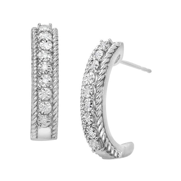 1/10 ct Diamond Hoop Earrings in Sterling Silver