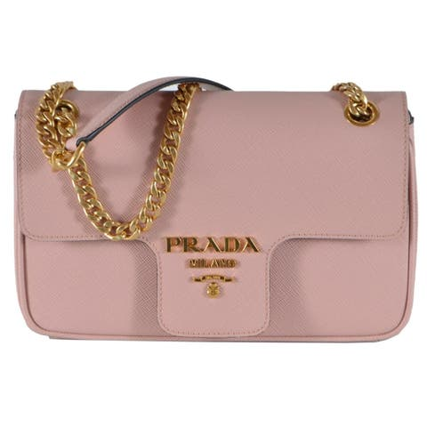 Prada 1BD193 Pink Pattina Saffiano Leather Small Crossbody Purse Bag