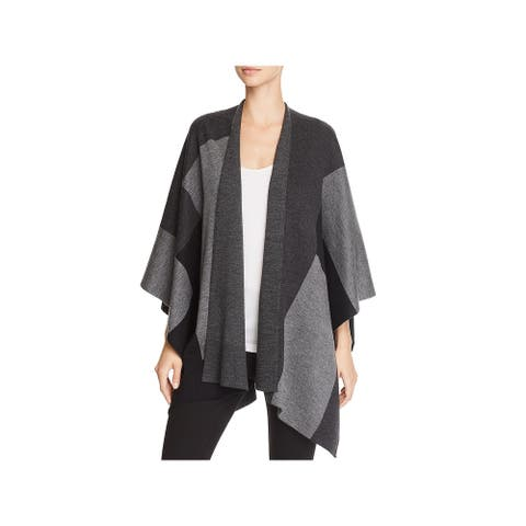 Eileen Fisher Womens Serape Merino Wool Color Block - Charcoal - O/S