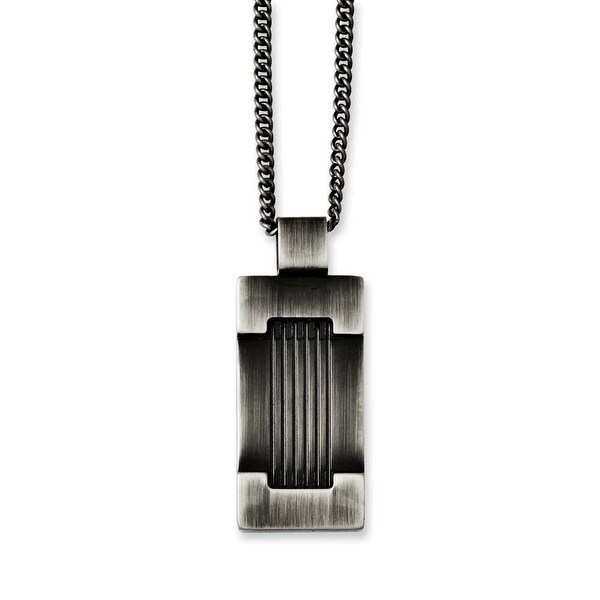 Chisel Stainless Steel Antiqued Dogtag 22in Necklace (2 mm) - 22 in
