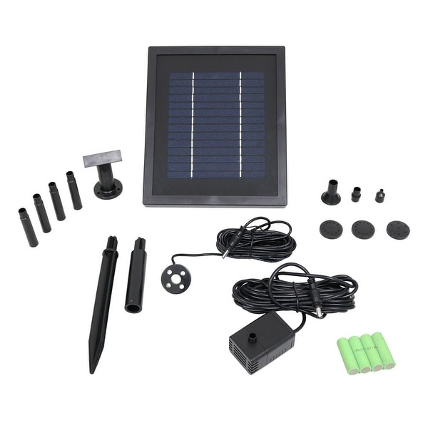 Sunnydaze 65 GPH Solar Pump & Panel Kit With Battery Pack & LED 47 Inch Lift