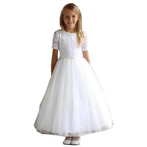 Angels Garment White Beaded Trim Tulle Lace Communion Dress Big Girls
