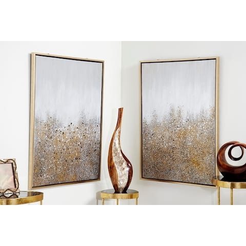 Set of 2 White & Gold Abstract Art Paintings - 30 x 1 x 40