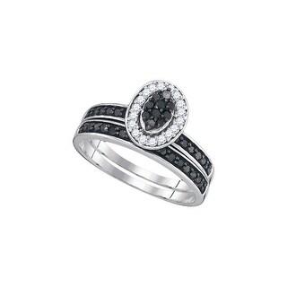 10k White Gold Black Colored Diamond Womens Cluster Bridal Wedding Engagement Halo Ring Set 1/2 Cttw