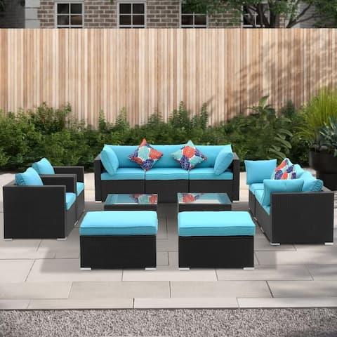 Ainfox 12 Pcs Rattan Sofa Sectional Set