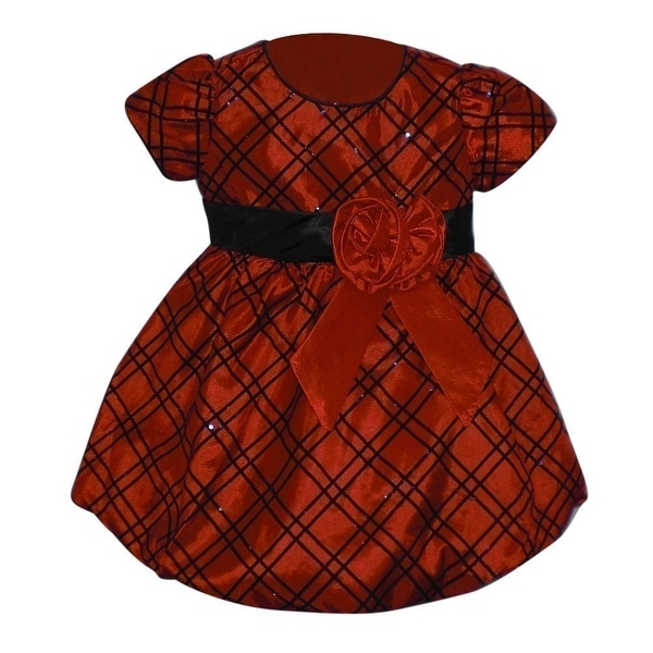 b780fc1e8084 Shop Baby Girls Red Black Checkered Pattern Rose Christmas Holiday Dress -  Free Shipping On Orders Over $45 - Overstock - 21158637