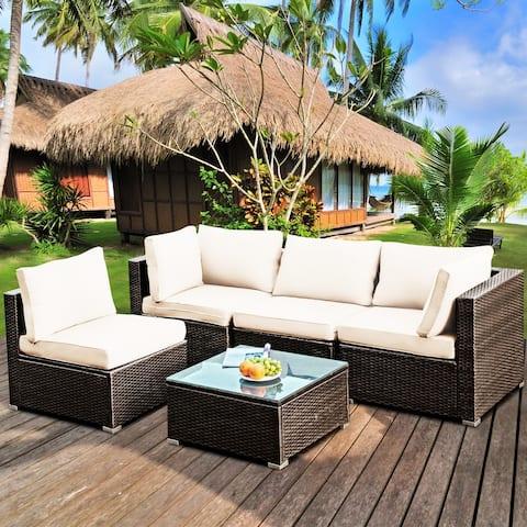 Gymax 5PCS Rattan Patio Conversation Set Sofa Furniture Set w/ White - See Details