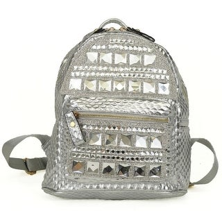 Hearty Trendy Silver Gleaming Shiny Accent Zipper School Trendy Backpack