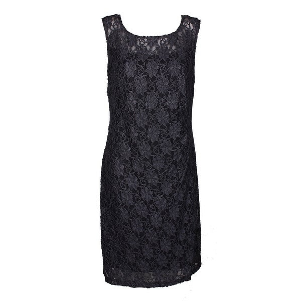 Connected Gunmetal Sleeveless Metallic Lace Sheath Dress 14
