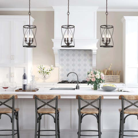 "Modern 3-Light Black Geometric Mini Pendant Lighting for Dining Room - W9.1""xH24.4"""