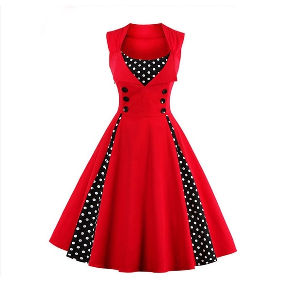 6749412913c Women  x27 s Polka Dot Retro Vintage Style Cocktail Party Swing Dress Retro  Women