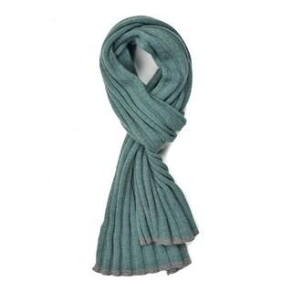 Brunello Cucinelli Sea Green Cashmere Grey Trim Ribbed Knit Scarf