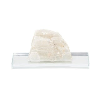 Natural Selenite Crystal On Clear Glass Mount 8 inch - 4.5 X 8 X 4 inches