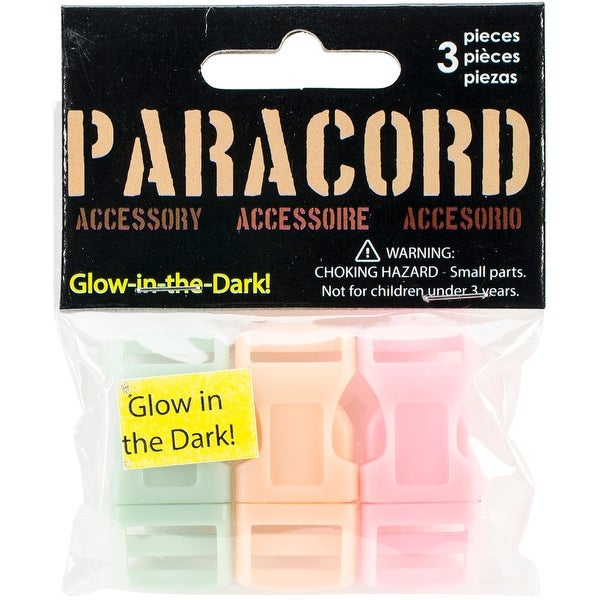 Glow-In-The-Dark Buckles 3/Pkg-Pink, Green & Orange