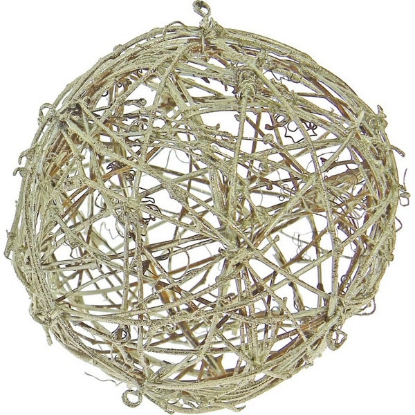 "5"" Silent Luxury Glittered Platinum Twig Weave Orb Table Top Decoration or Ornament"