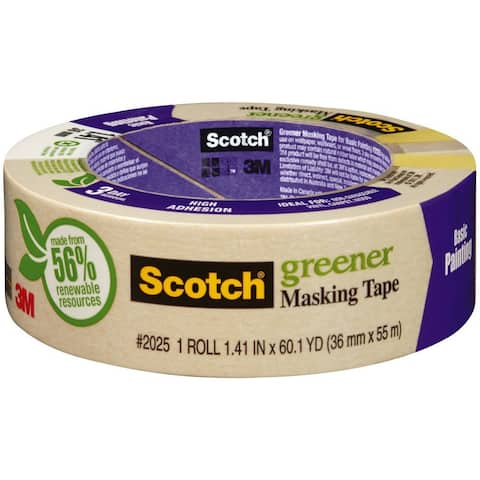 "Scotch 2025-36C Greener Masking Tape for Basic Painting, 1.41"" x 60.1 Yd"