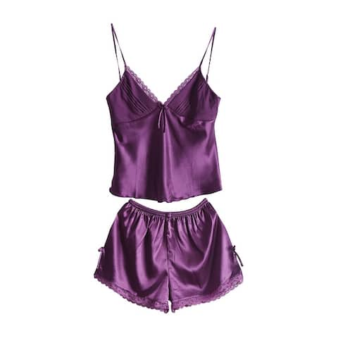 Women Sexy Lace Silk Satin Camisole Shorts Pajama Sleepwear Sets