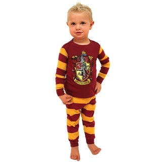 Harry Potter Pajamas Toddlers Kids Boys and Girls House Crest Striped- Gryffindor, Ravenclaw, Hufflepuff, Slytherin