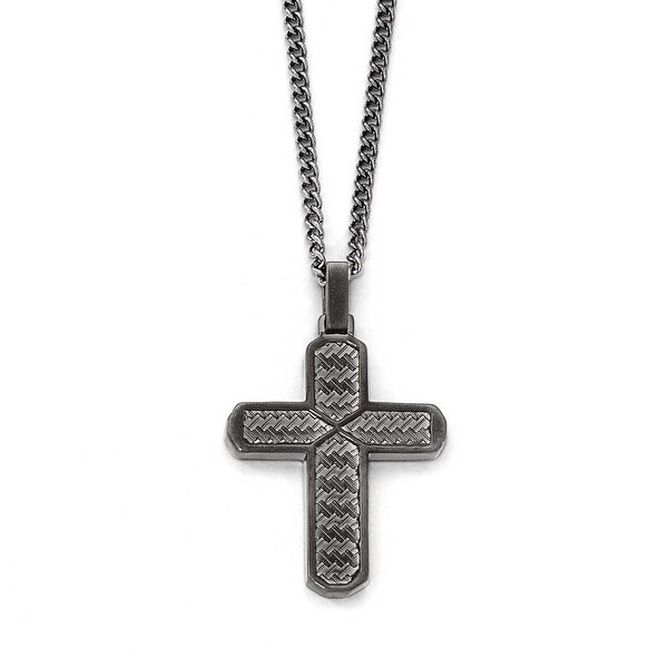 Chisel Stainless Steel Polished Textured Black IP-Plated Cross Necklace - 22 in