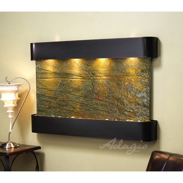Adagio Sunrise Springs Fountain w/ Green Natural Slate in Blackened Copper Finis