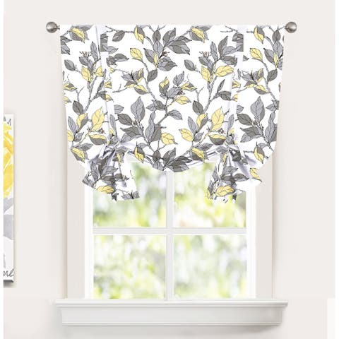 DriftAway Ryan Sketch Floral Branch Leaves Tie Up Curtain - 45'' Width X 63'' Length