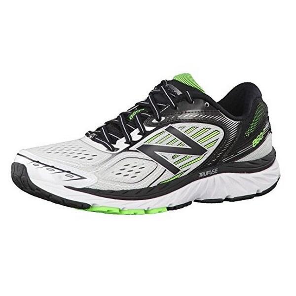 New Balance Mens Running Shoe, White/Black/Green, 8.5D