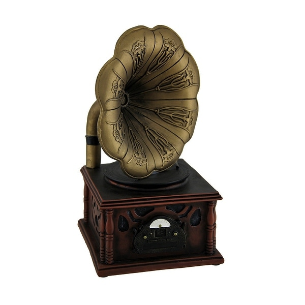 Vintage Gramophone Bronze and Wood Finish Coin Bank - 9.5 X 5 X 5 inches