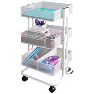 "27.5""X15.1""X13.9"" White - Storage Studios Rolling Craft Cart W/3 Bins"
