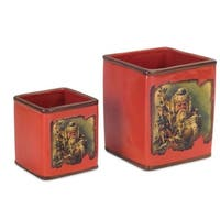 Club Pack of 12 Red and Brown Santa Claus Christmas Containers 6""