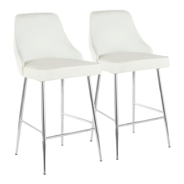 Silver Orchid Naldi Contemporary Chrome Counter Stool (Set of 2) - N/A. Opens flyout.