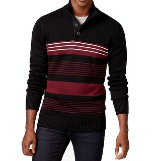Sean John NEW Black Men Size 3XL Mock Neck Striped Rib-Knit Trim Sweater