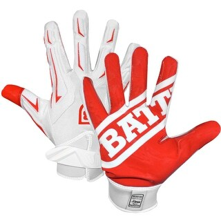 Battle Sports Science Receivers Hybrid Ultra-Stick Football Gloves - Red/White