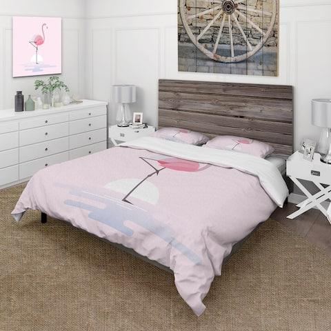 Designart 'Standing Pink Flamingo' Farmhouse Duvet Cover Set