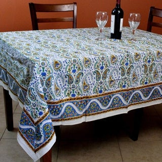 Hand Block Print Paisley Floral Tablecloth Square Tables Cotton Table Linen - 72 x 72 inches