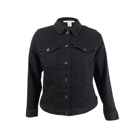 Style & Co. Women's Plus Size Denim Jacket - Black Rinse