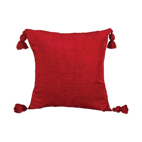 Crimson Red Pillow Cover with Tassles 24x24-inch Pillow Cover Only Crimson Red Colors Crimson Red