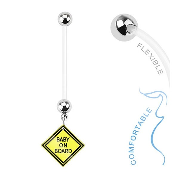 Baby on Board Sign Dangle Bio Flex Pregnancy Navel Belly Button Ring