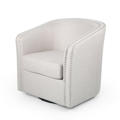 "Maya Contemporary Barrel Swivel Chair by Christopher Knight Home - 30.25"" W x 31.25"" L x 31.25"" H"