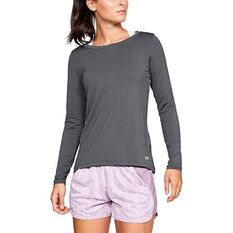 Under Armour HeatGear Armour Long Sleeve, Pitch Gray Light Heather//Metallic Silver, Medium