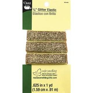 """Gold - Glitter Elastic 5/8""""X1yd"""