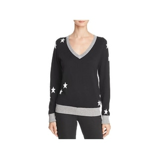 Chaser Womens Star Pullover Sweater Cashmere Metallic