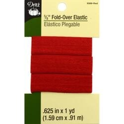 "Red - Dritz Fold-Over Elastic 5/8""X1yd"