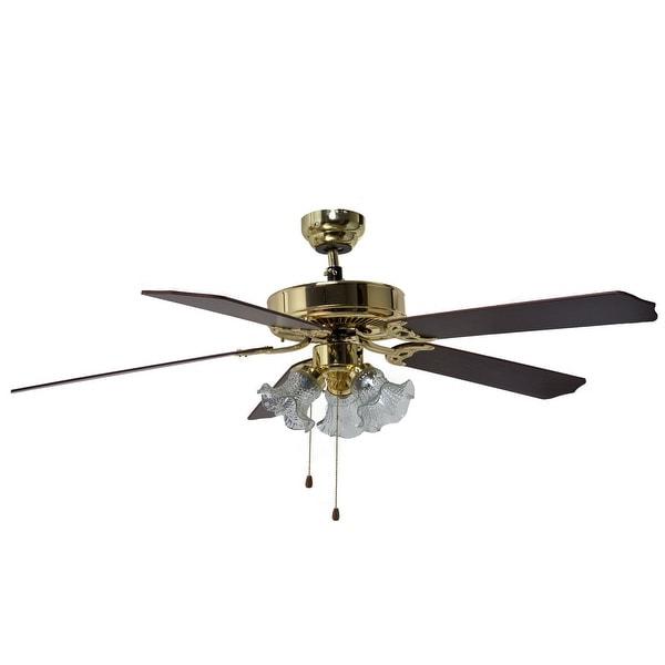 "Boston Harbor CF-78021L Three Light Ceiling Fan, 52"", Polished Brass"