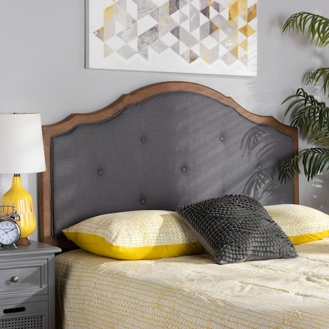Gala Vintage Classic Fabric and Wood Arched Headboard in Grey