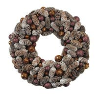 """21"""" Nature's Glow Frosted Pine Cone & Ball Ornament Artificial Christmas Wreath - brown"""