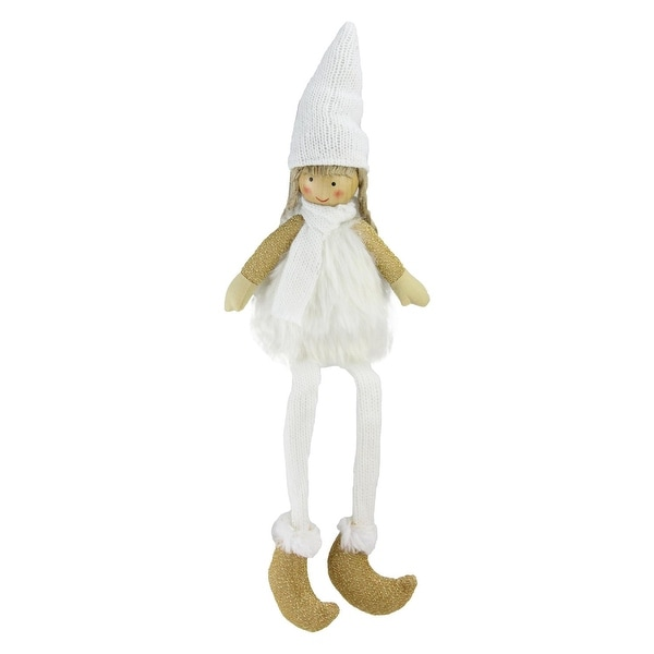 """16"""" Sitting Girl with Hat, Scarf, and Dangling Legs Tabletop Decoration"""