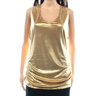 INC NEW Gold Women's Size XS Ruched Metallic V-Neck Cutout Tank Top