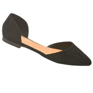 Weeboo Adult Black Faux Suede Finish Pointy Toe Slip -On Flats